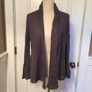 WOODEN SHIPS SWEATER CARDIGAN GRAY OPEN FRONT M/L